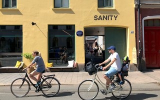 People on bikes outside of Sanity HQ