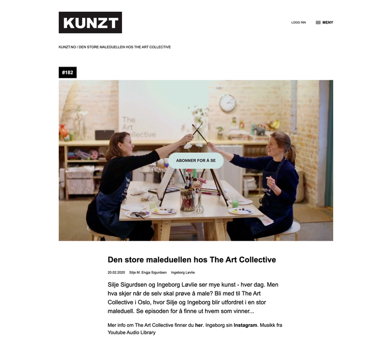 An vlog page from kuntz.no showing two painters crossing their brushes