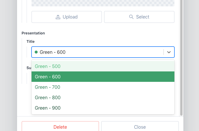 A dropdown showing shades of green pulled from Tailwind's configuration