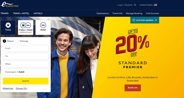 The homepage of www.eurostar.com