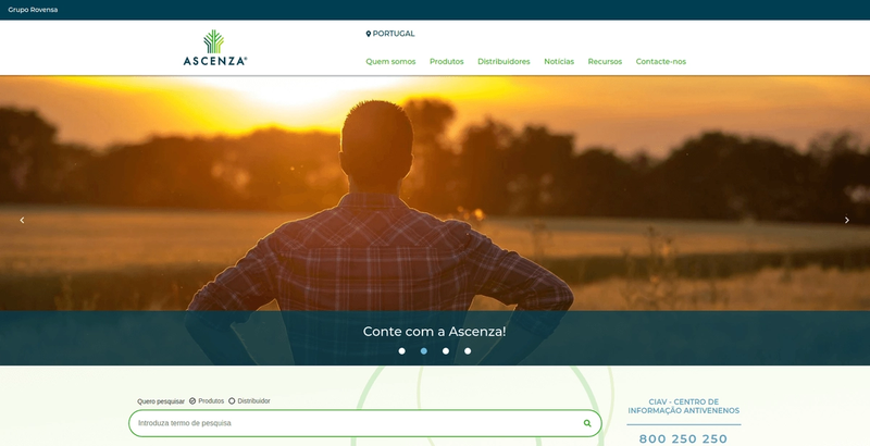 Ascenza website page