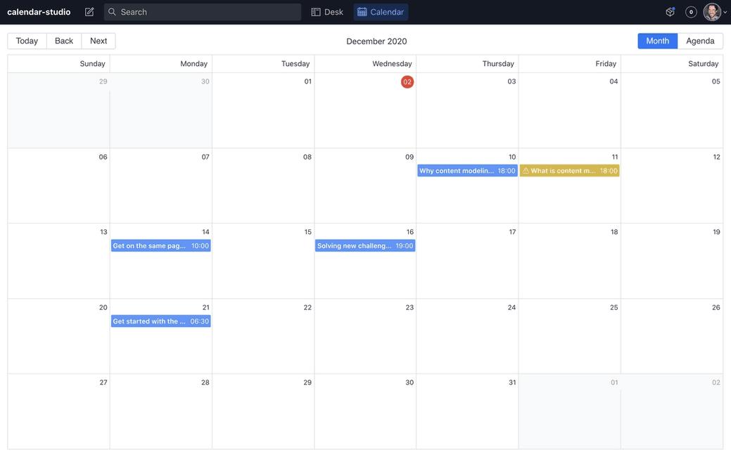 Sanity Content Calendar in Studio