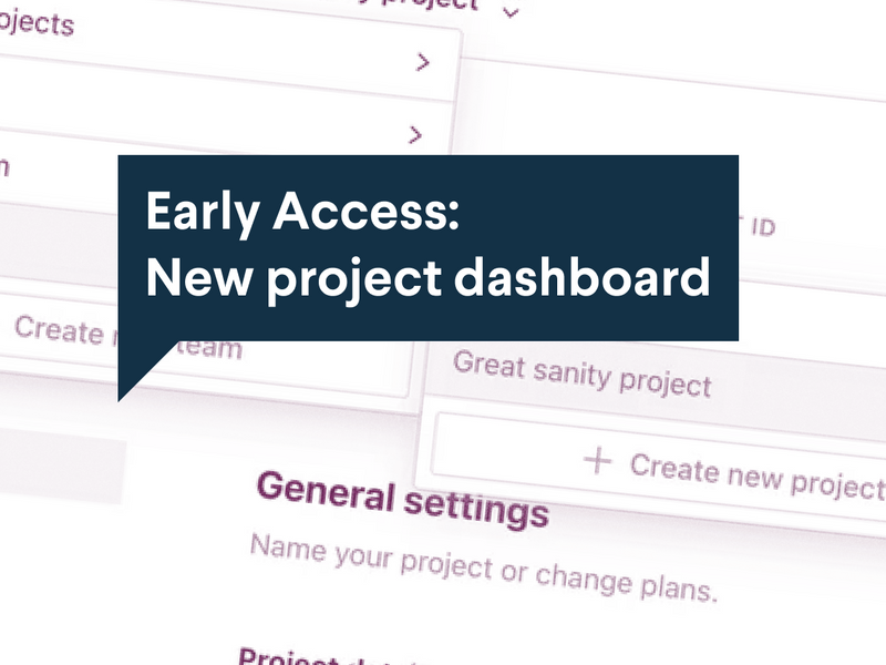 Early access: New project dashboard