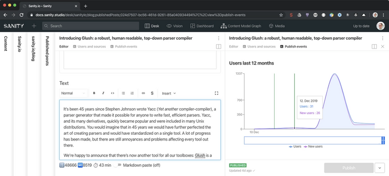 Studio showing document form along side with user statistics from Google Analytics