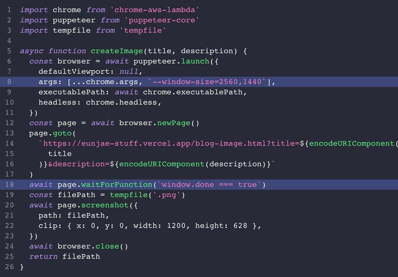 code that screenshots using Puppeteer