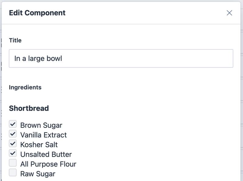 Ingredients list in the Sanity Studio