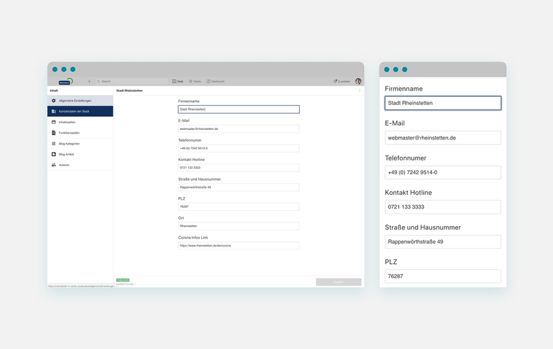 The customized responsive Sanity Studio showing site settings