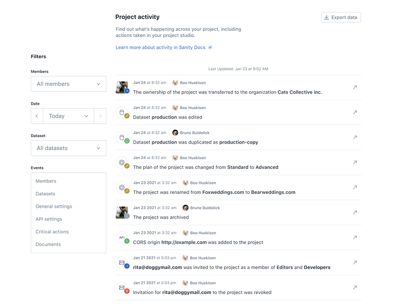 Screenshot of the project activity from sanity.io/manage