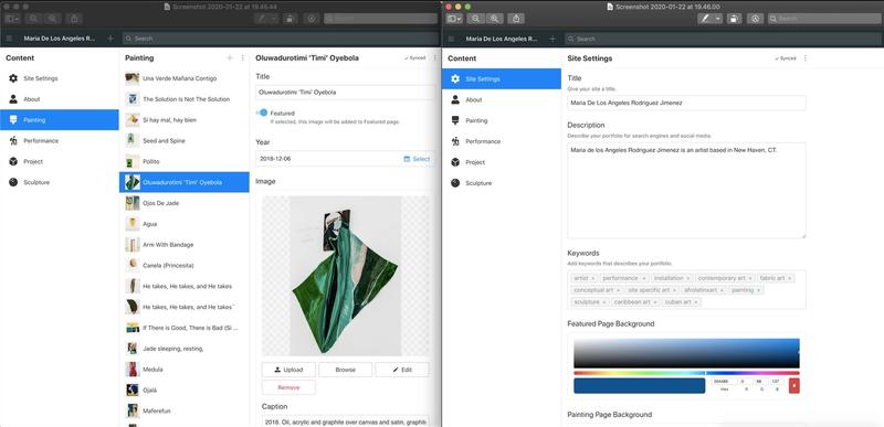 Screenshot of Sanity Studio showing paintings and site settings