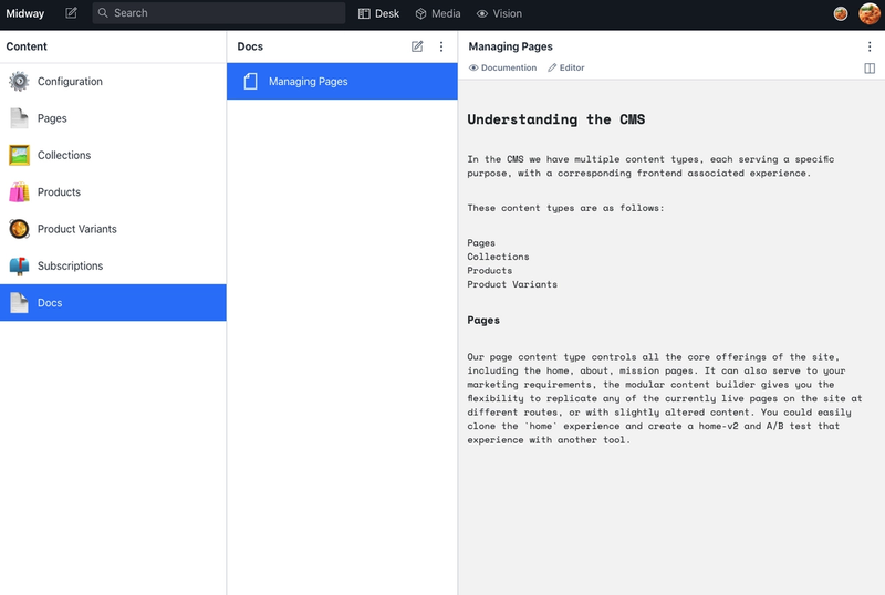 """Managing Pages"" documentation embedded directly in a ""Docs"" schema inside the Studio."