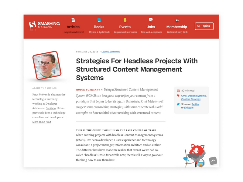 Our article on succeeding with headless CMS projects is up on Smashing Magazine!