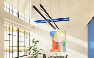 Interior space with RBW palindrome light suspended from ceiling
