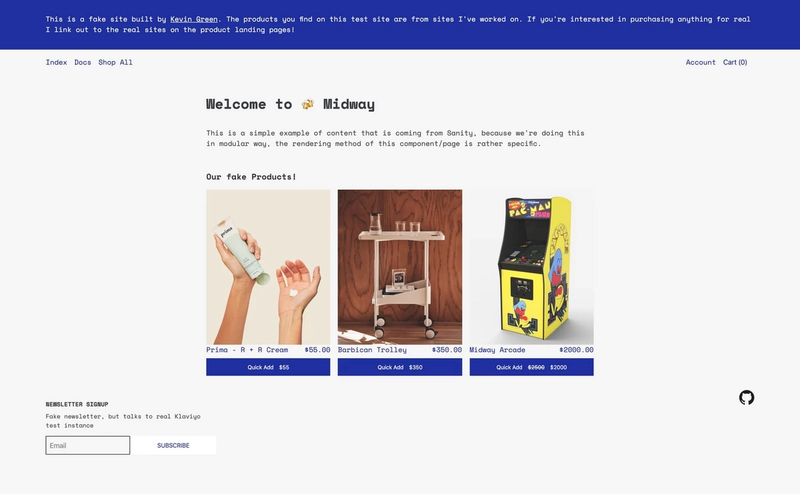 Midway home page