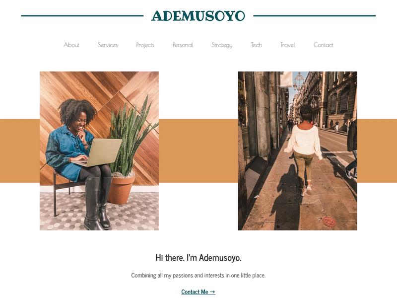 The homepage for Ademusoyo