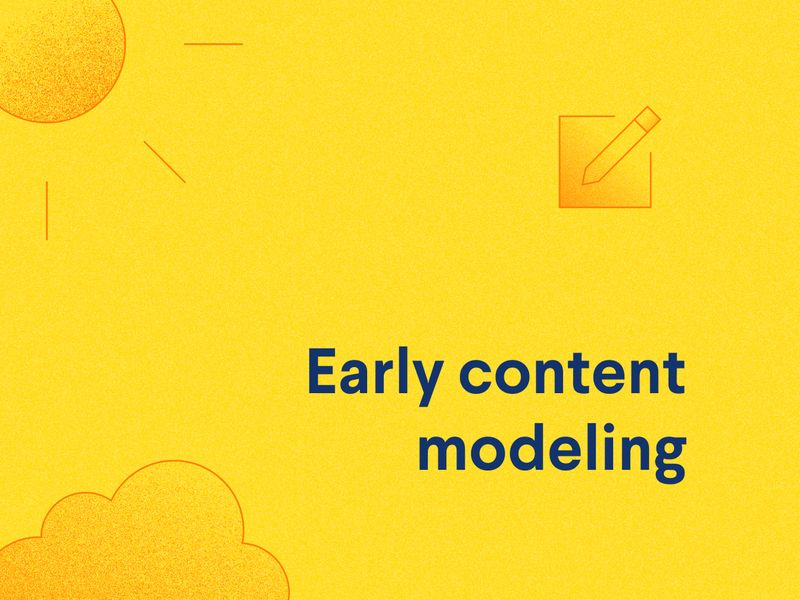 Text: Early content modeling. Icons of sunrise over horizon with clouds.