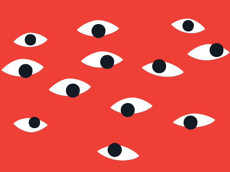 A collection of eyes on a red background