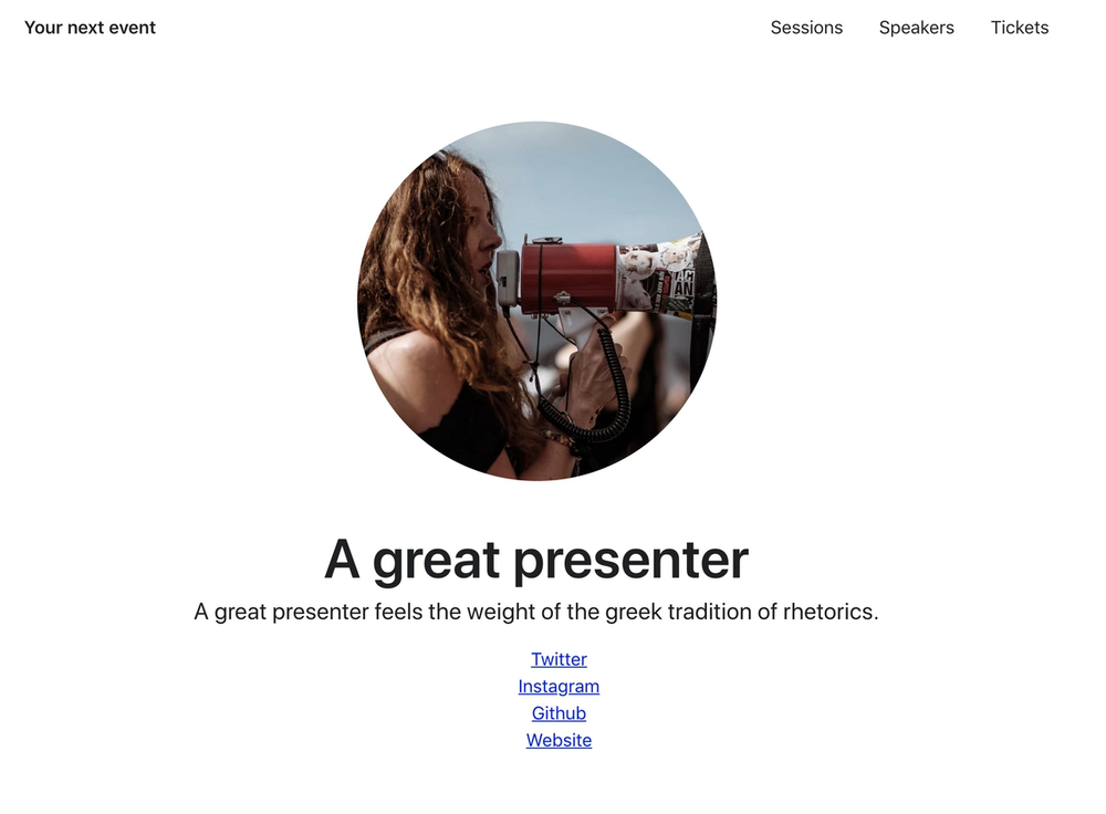 The Nuxt js Event Website