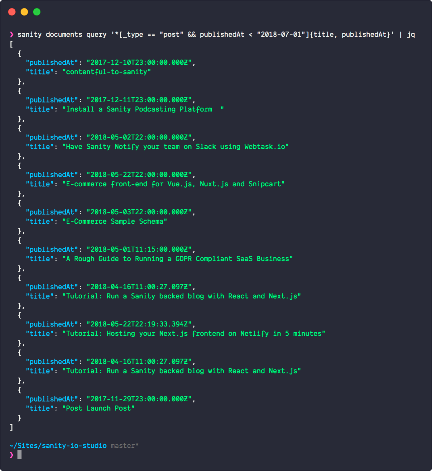 The output from Sanity CLI piped through jq