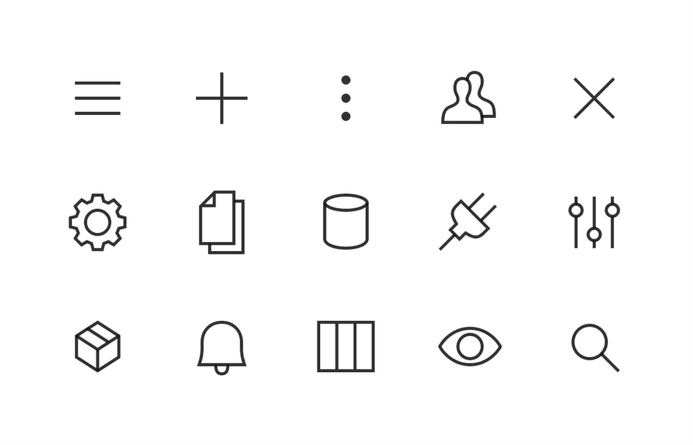 Custom icon set designed in-house