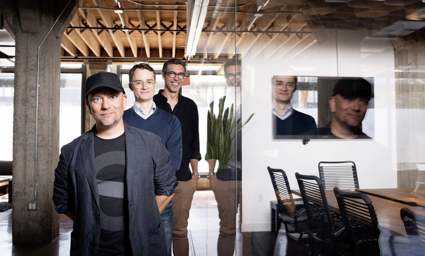 Photo of Even Westvang (CPO, co-founder), Heavybit's Managing Director Tom Drummond, and Magnus Hillestad (CEO, co-founder)