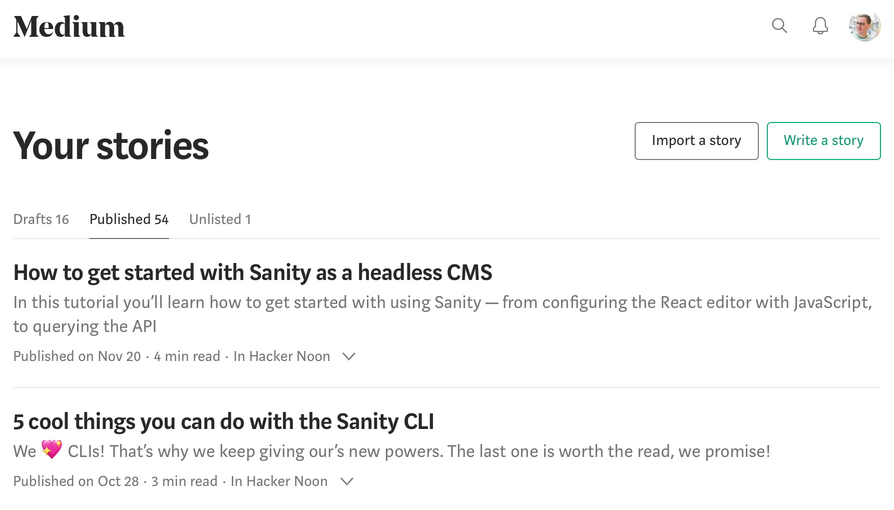The import story button on Medium
