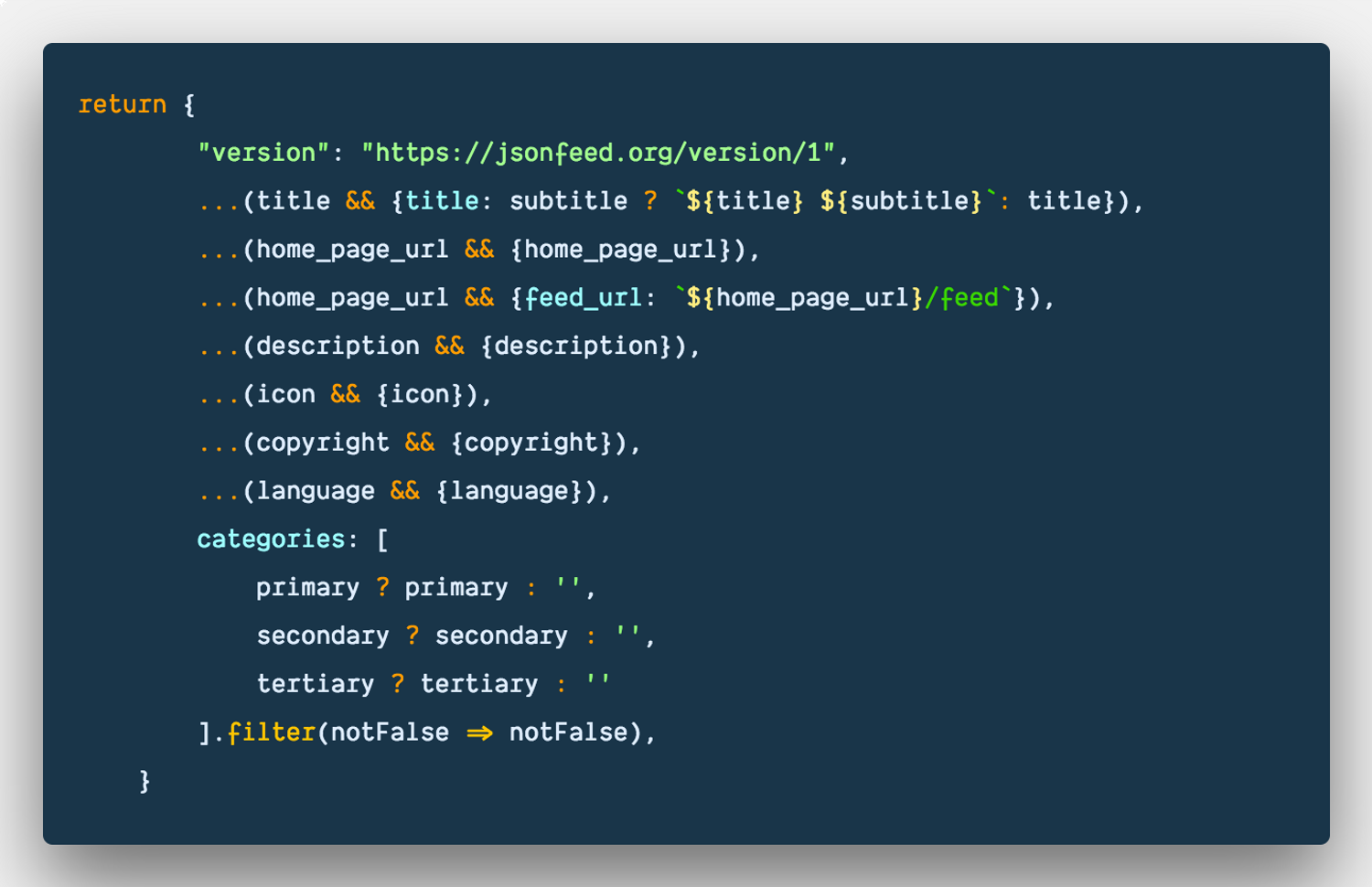 How to conditionally build an javascript object with features in ES6