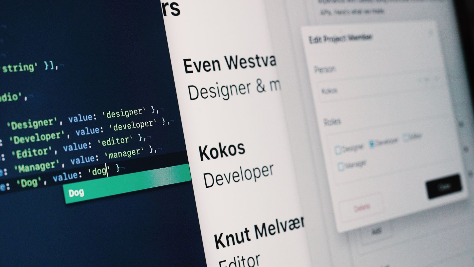 A side by side view of a schema, a Gatsby front-end and the Sanity Studio