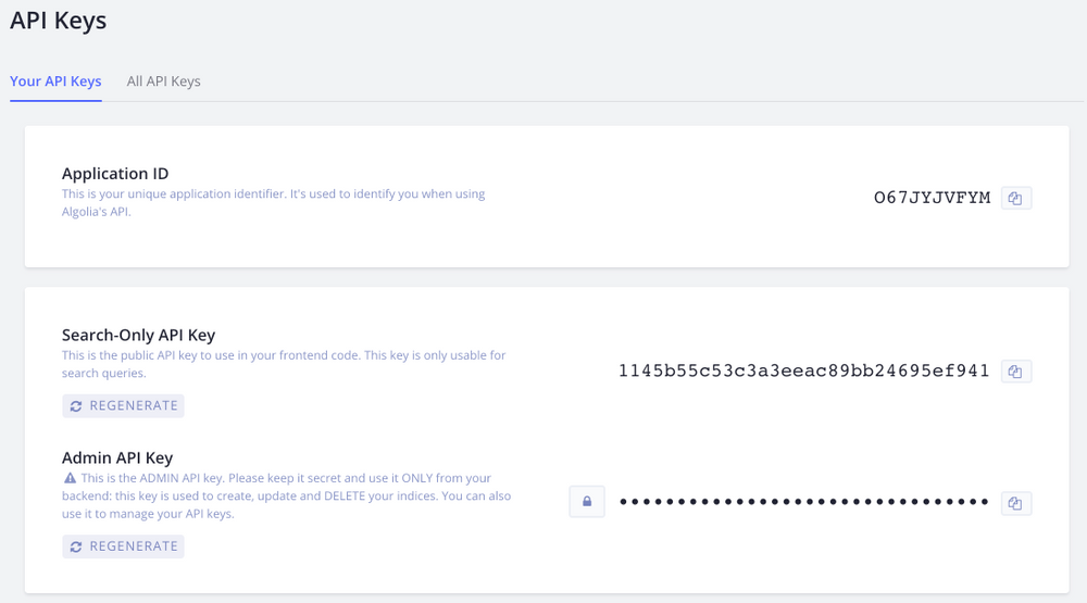 App ID and API Keys in Algolia