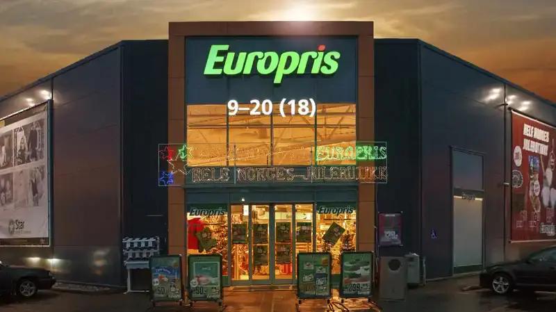 Fasaden til en Europris butikk