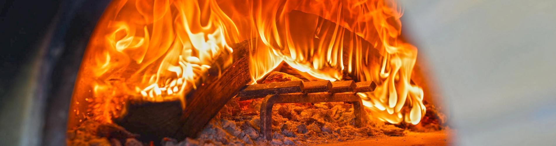 Roaring Fire in the Corvo Bianco Wood Fired Pizza Oven