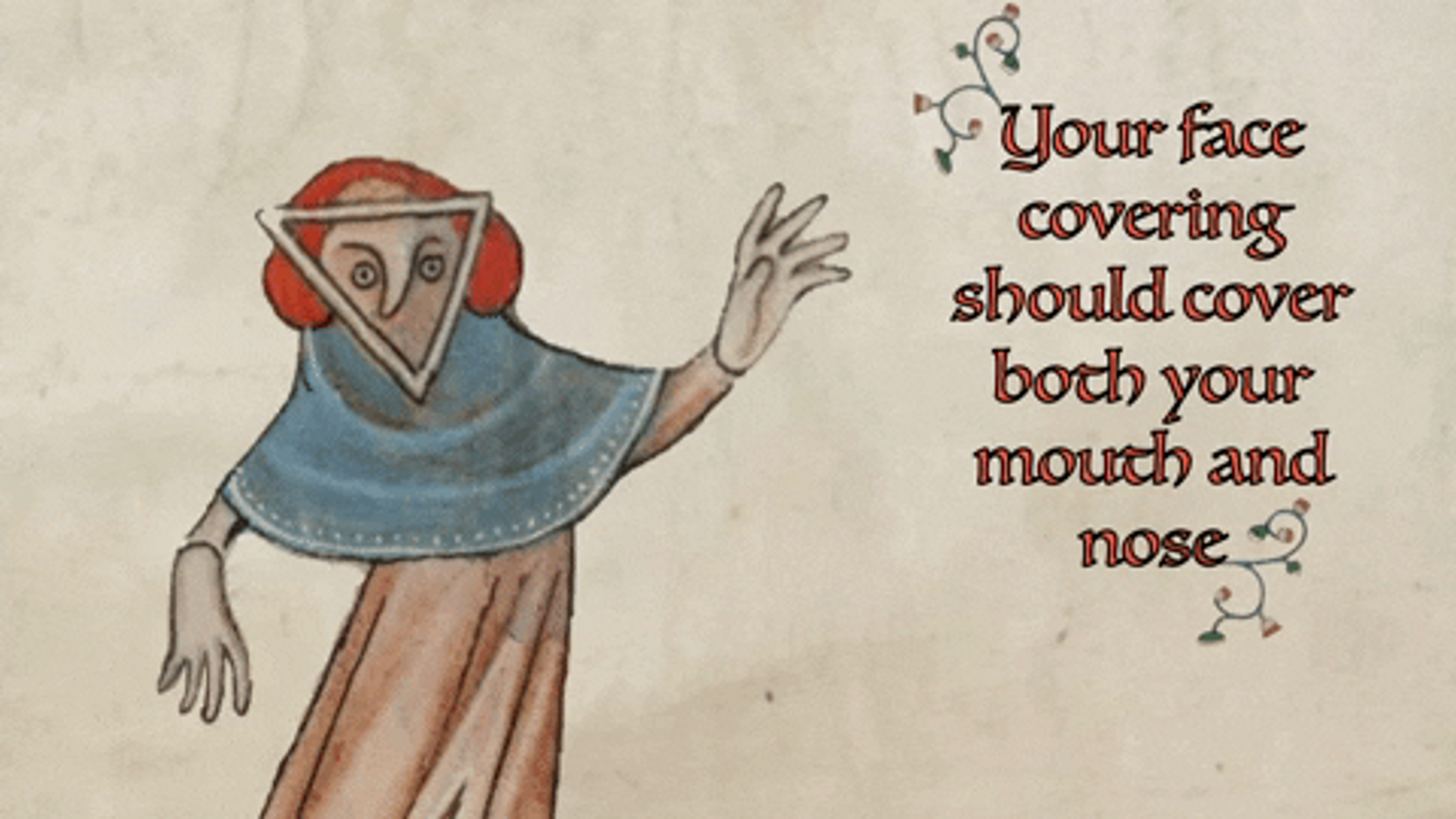 An animated medieval drawing of a woman wearing a face covering