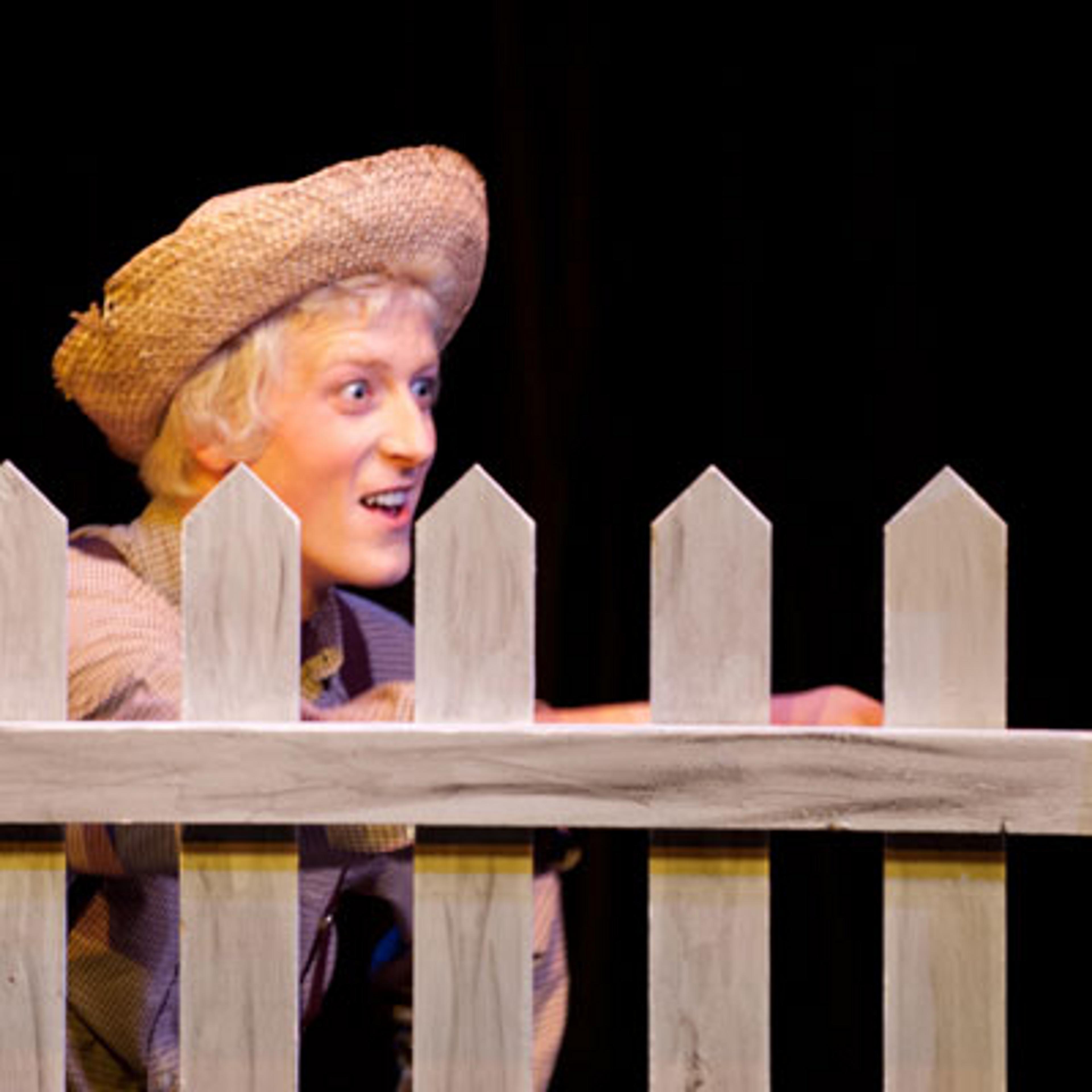 Tom Sawyer peeks over a fence