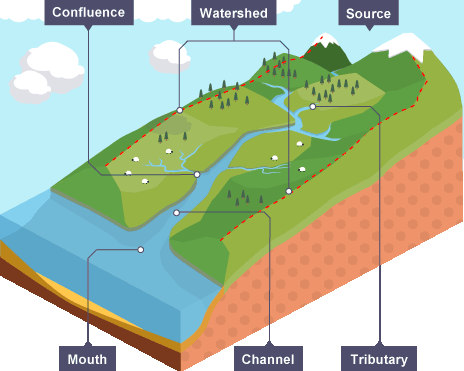 Characteristics of a drainage basin (Source: BBC)