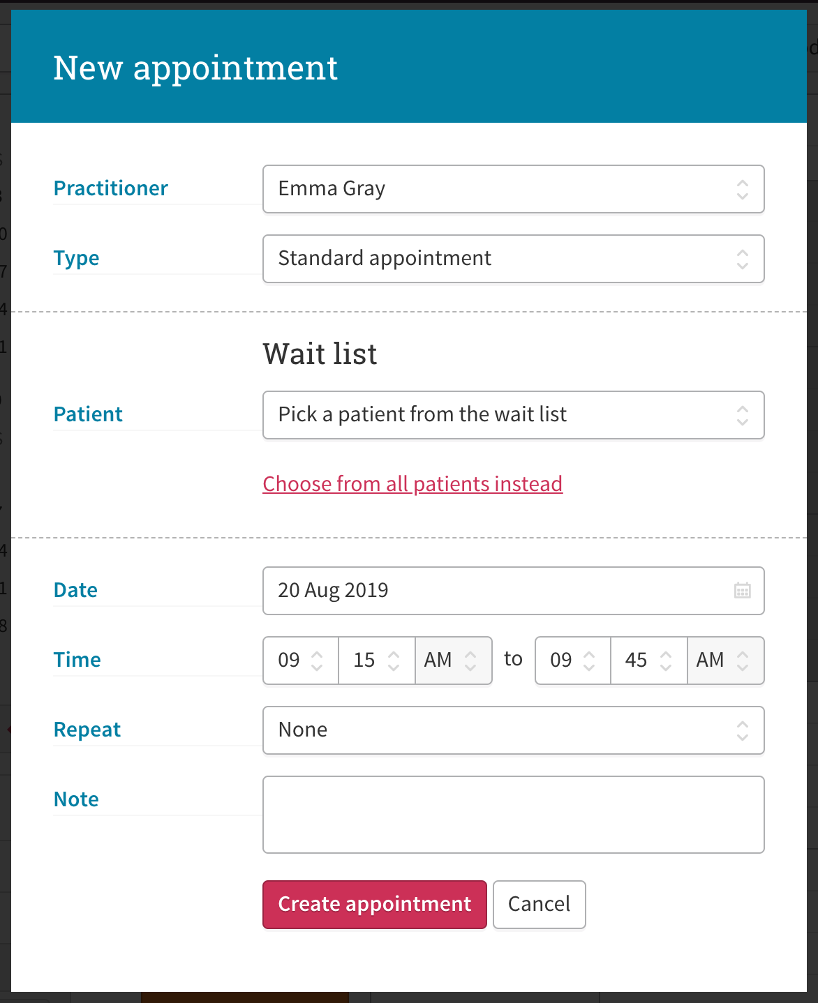 A screenshot showing how to select a patient from the wait list when creating a new appointment