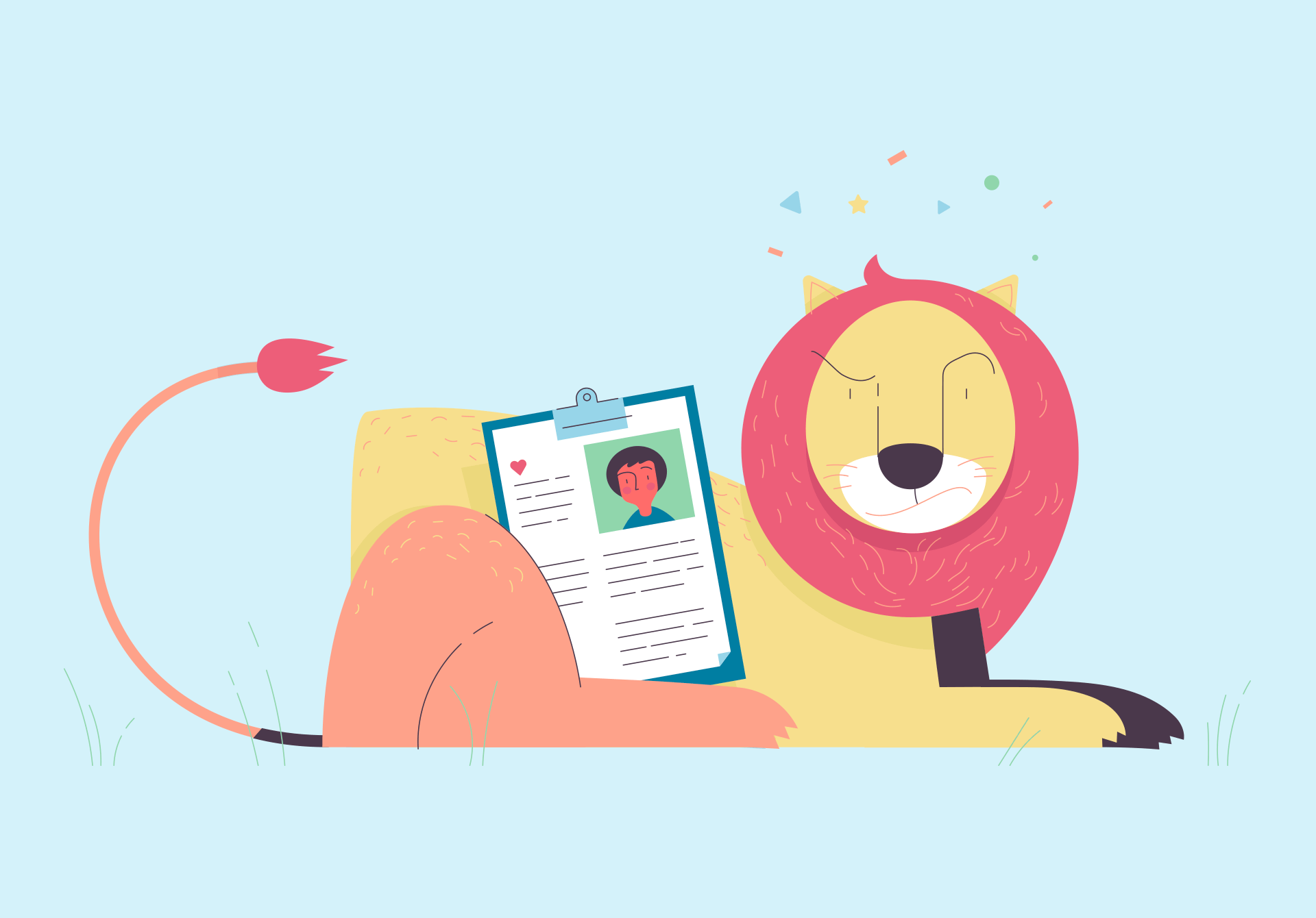 Ilustration of a lion guarding a clipboard with patient information