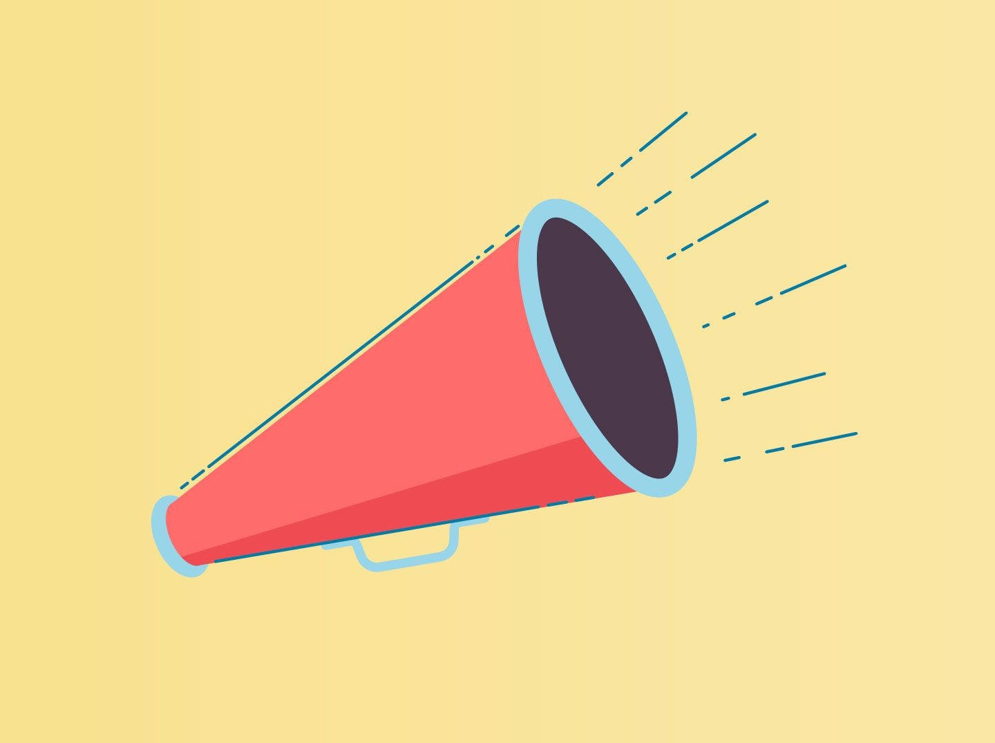 Illustration of a red megaphone on a yellow background