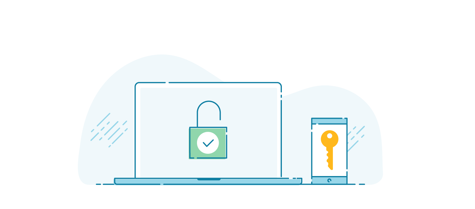 Illustration of a mobile phone screen displaying a key, beside a laptop screen displaying an open padlock. a key