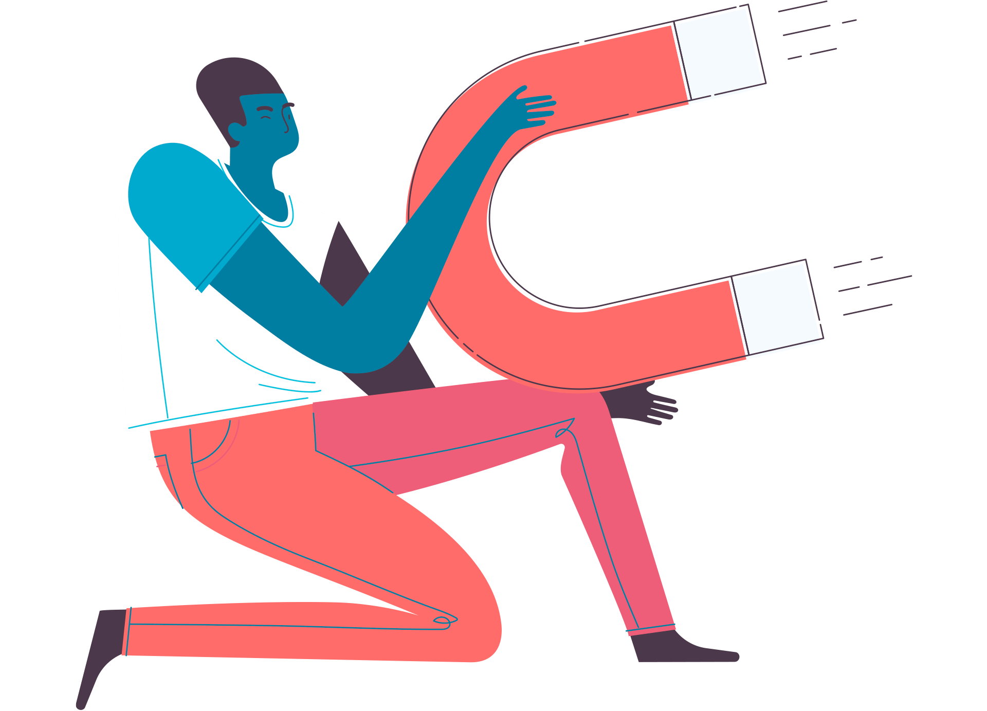 An illustration of a person wielding an over-sized magnet.