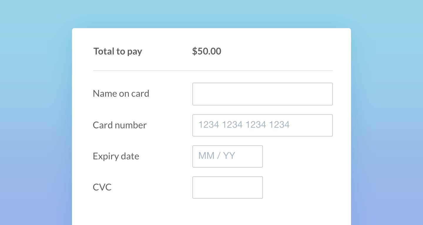 A screenshot of a credit card payment form.