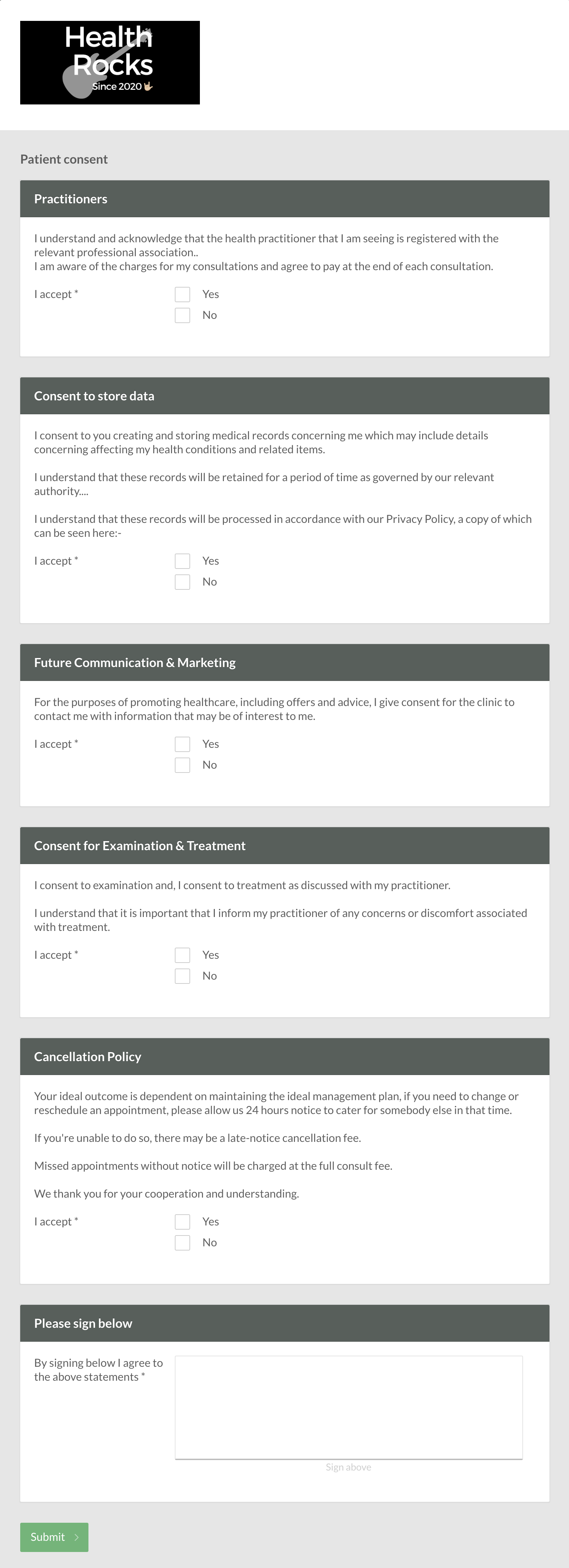 An example of a healthcare consent form