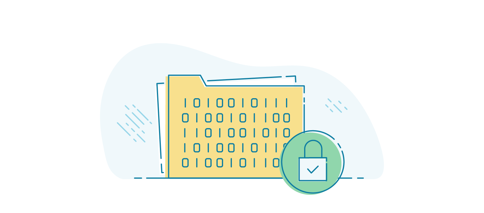 Illustration of a folder covered in 1s and 0s to indicate encrypted data within.