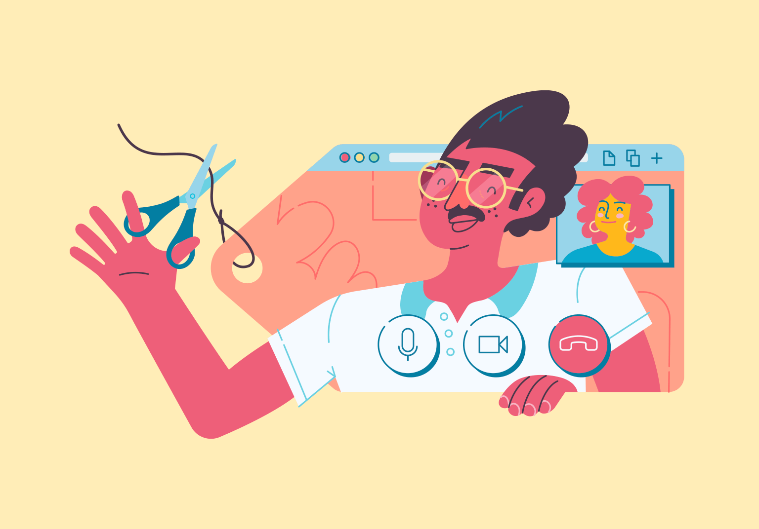 An illustration of a video call UI, but shaped like a price tag. One of the people on the call is reaching out of the screen to cut the price tag off with a pari of scissors.