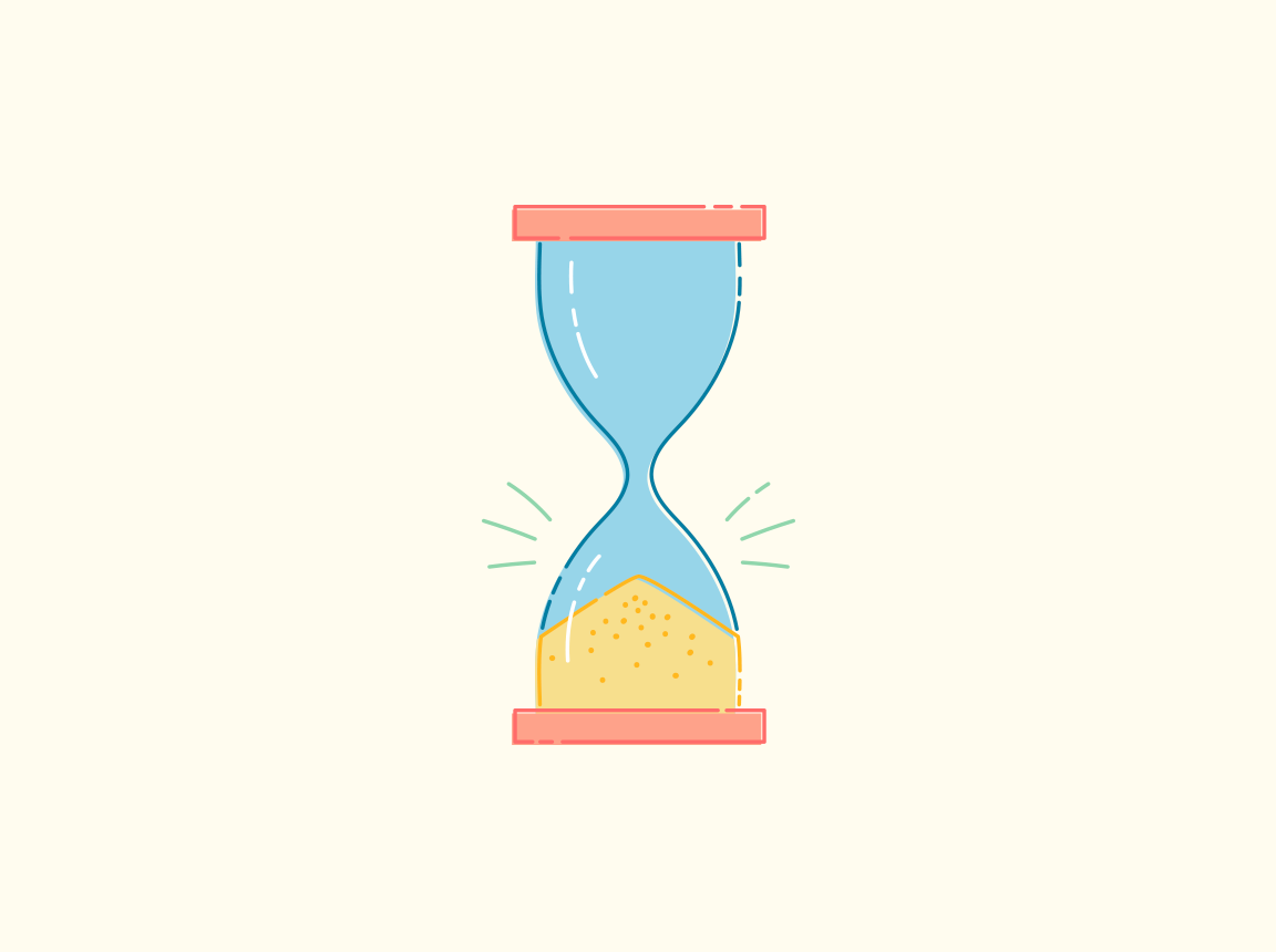 An illustration of an hourglass that's run out of time