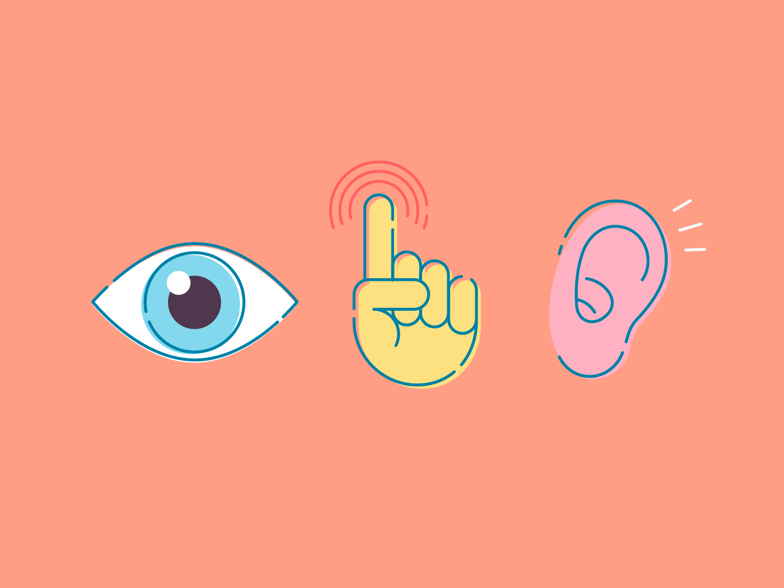 An illustration of an eye, finger, and ear to represent the senses sight, touch, and hearing.
