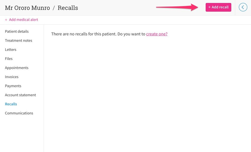 Arrow pointing to a button that adds a new recall.