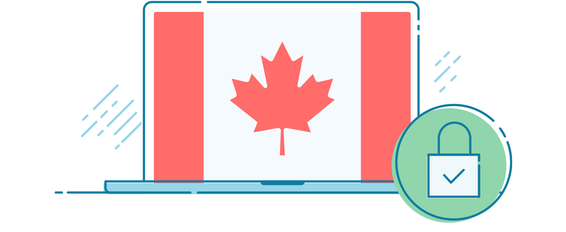 A Canada flag on a laptop screen with a secure padlock icon.