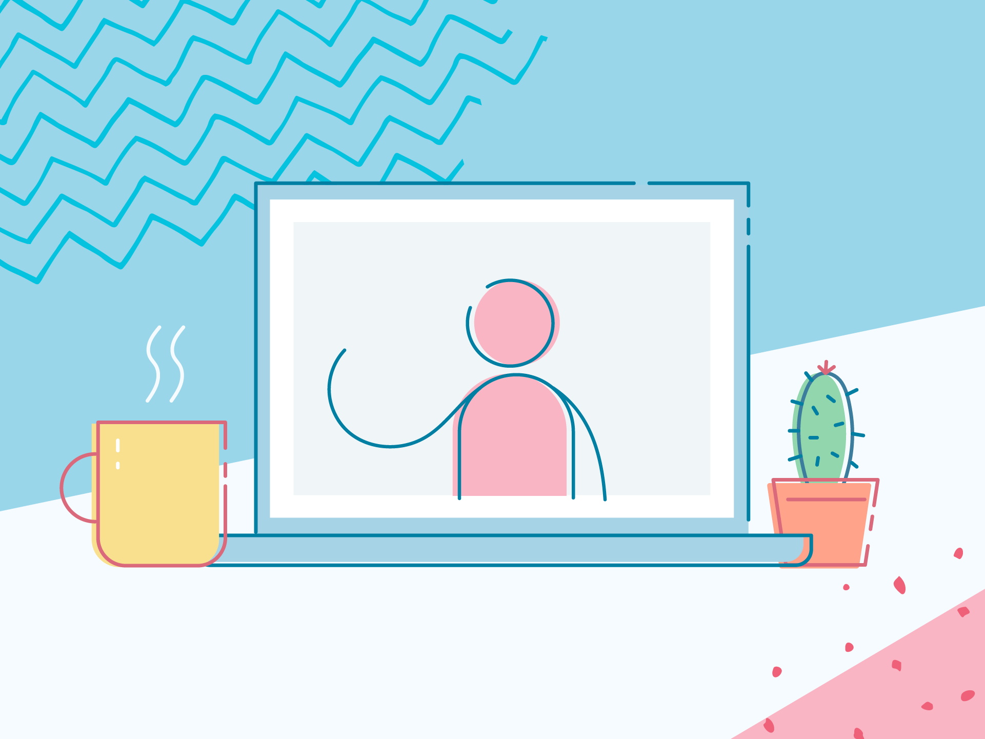 Illustration of a telehealth call on a laptop with a coffee mug and cactus