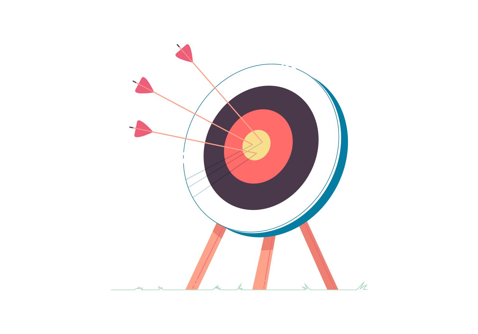 Arrows in a bullseye target.