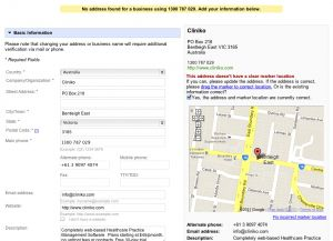 Google places business information confirmation screen.