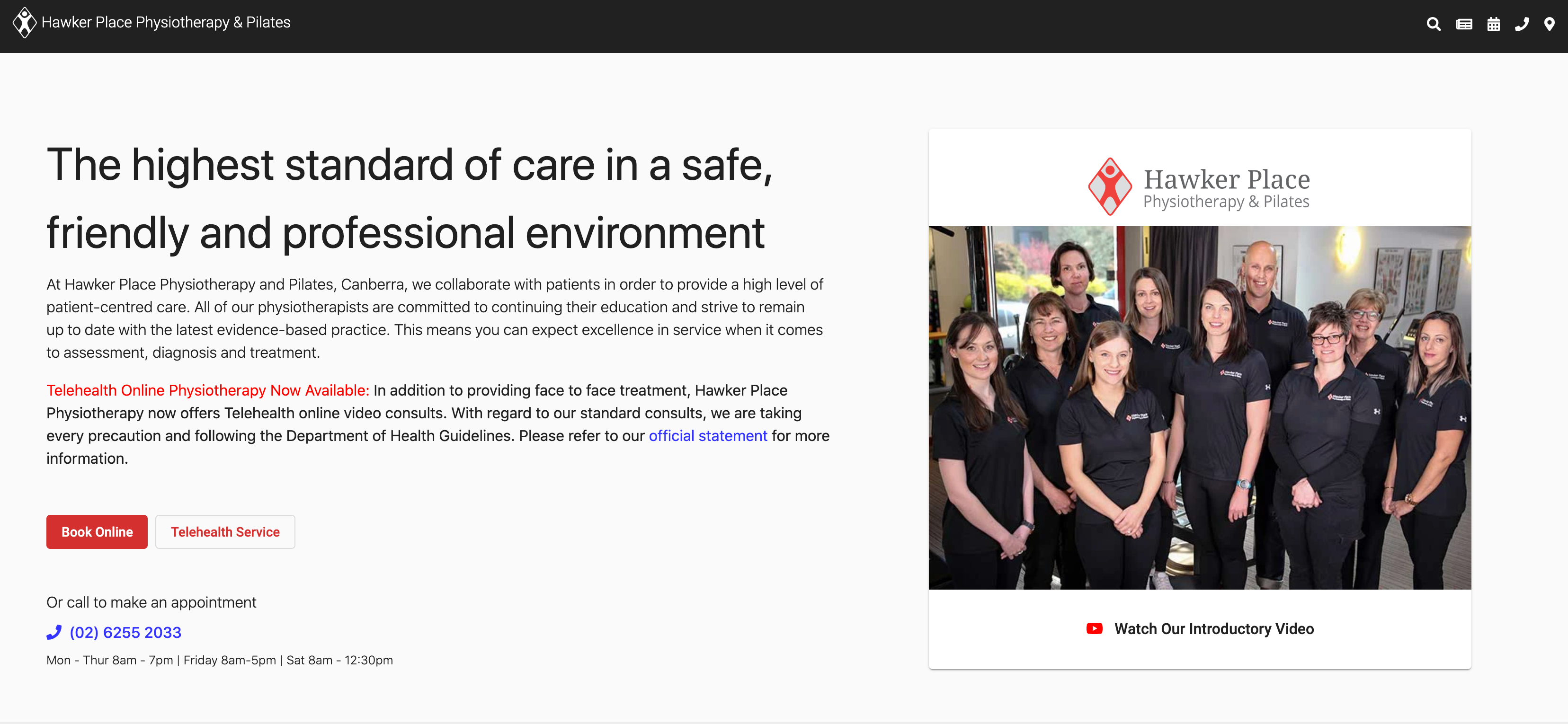 A screenshot of the Hawker Place Physiotherapy & Pilates homepage, featuring their message about COVID-19